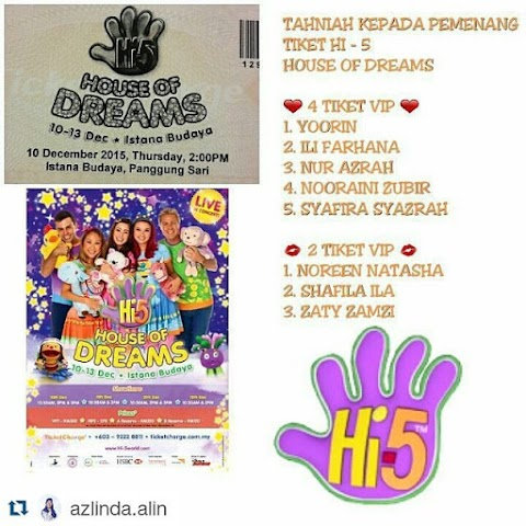 Menang Giveaway Hi5! House of Dreams Live in Concert 2015 Worth RM1K