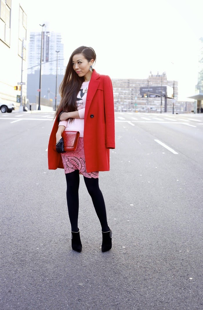 Casadei blade boots,Casadei sale, pink and red, How to be Parisian wherever you are, doll memories, casadei love, baublebar earrings, naf naf coat, chicwish lace pencil skirt, saint laurent clutch, asos gloves, winter streetstyle, new year, nyc,fashion blog, shallwesasa, Chanel Brooch