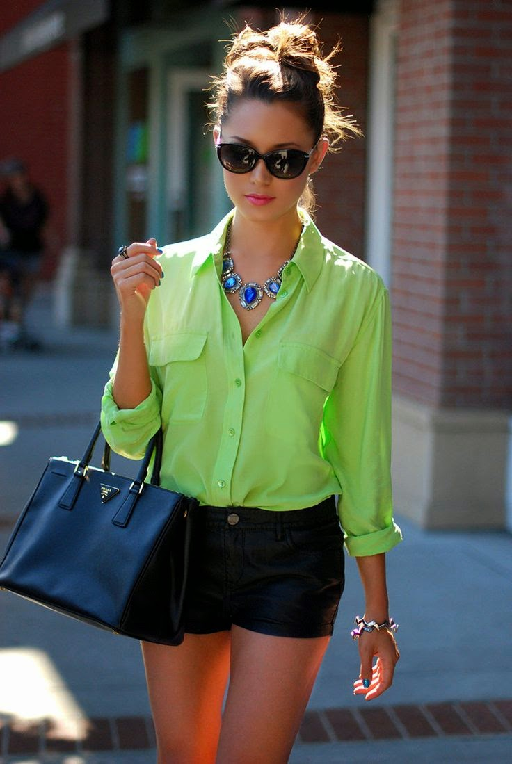 Black Shorts & Bright Green Blouse