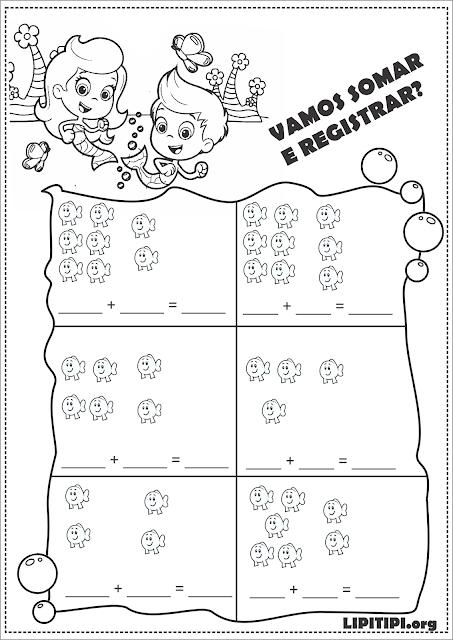 Atividade Adição Ilustrada  Bubble Guppies