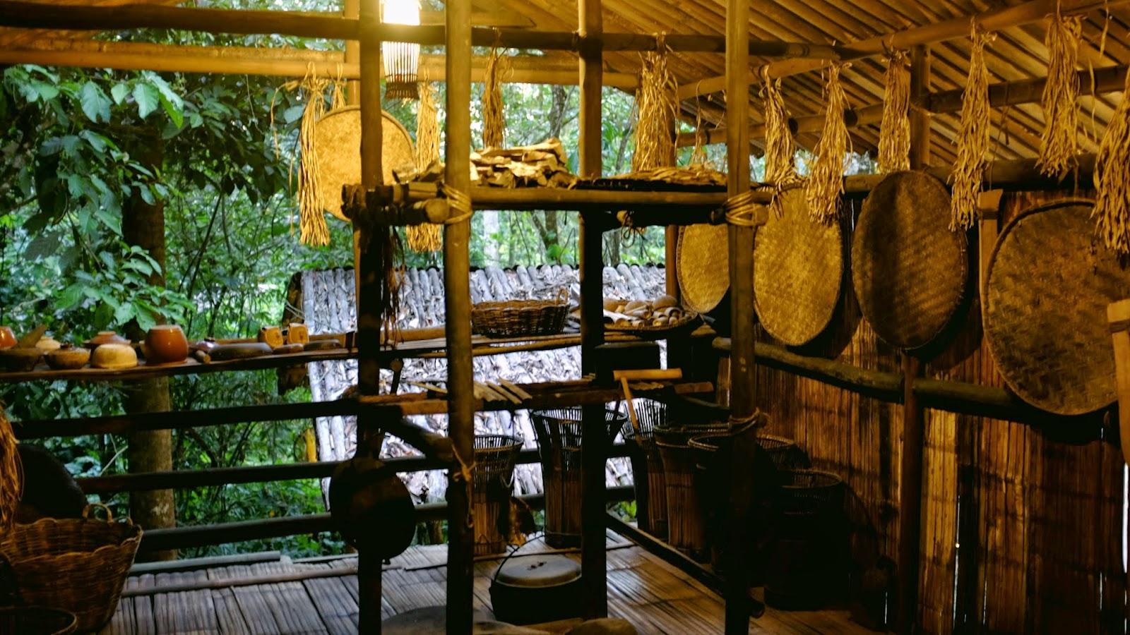 The interior of a Dusun long house at Mari Mari Cultural Village
