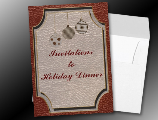 Leather-Look Christmas Red Holiday Dinner invitations