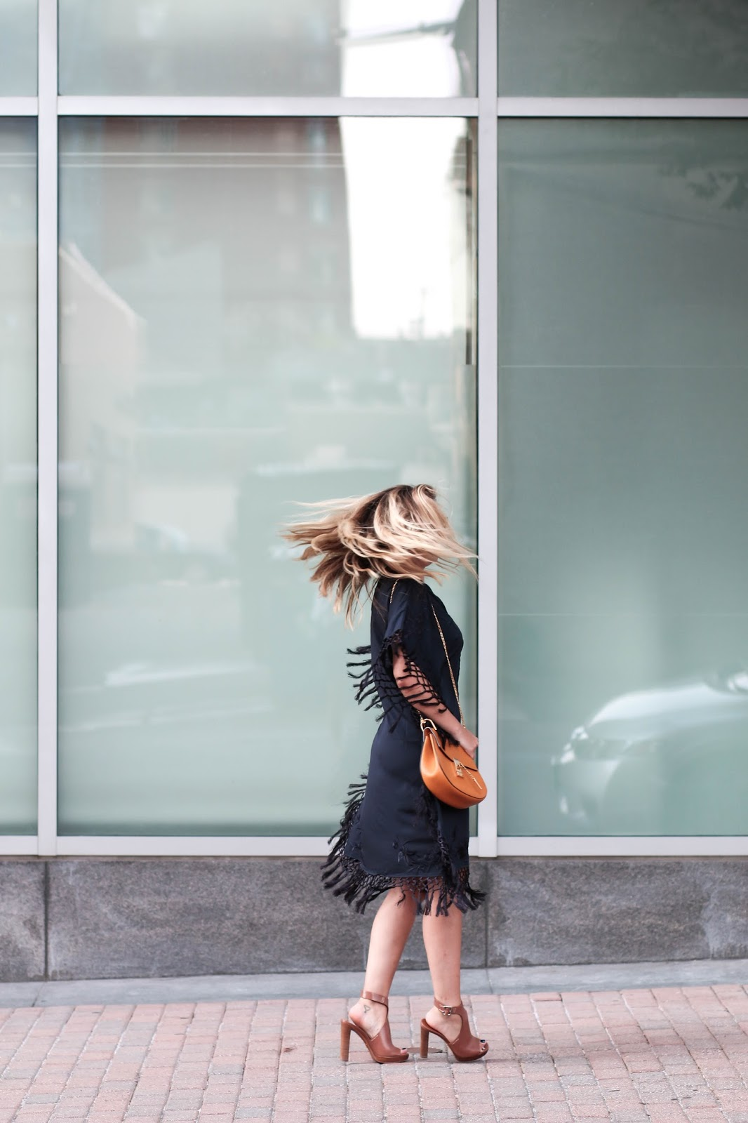 fringe, french connection, dress, black, summer, outfit, style, prada, heels, rayban, sunglasses, chloe, bag, borrow, style, blog, dc, fashion