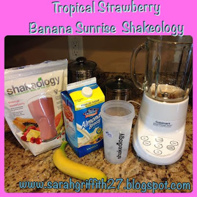 Shakeology, Tropical treat, Tropical Strawberry, Sarah Griffith, Vegan formula, meal replacement, healthy breakfast,