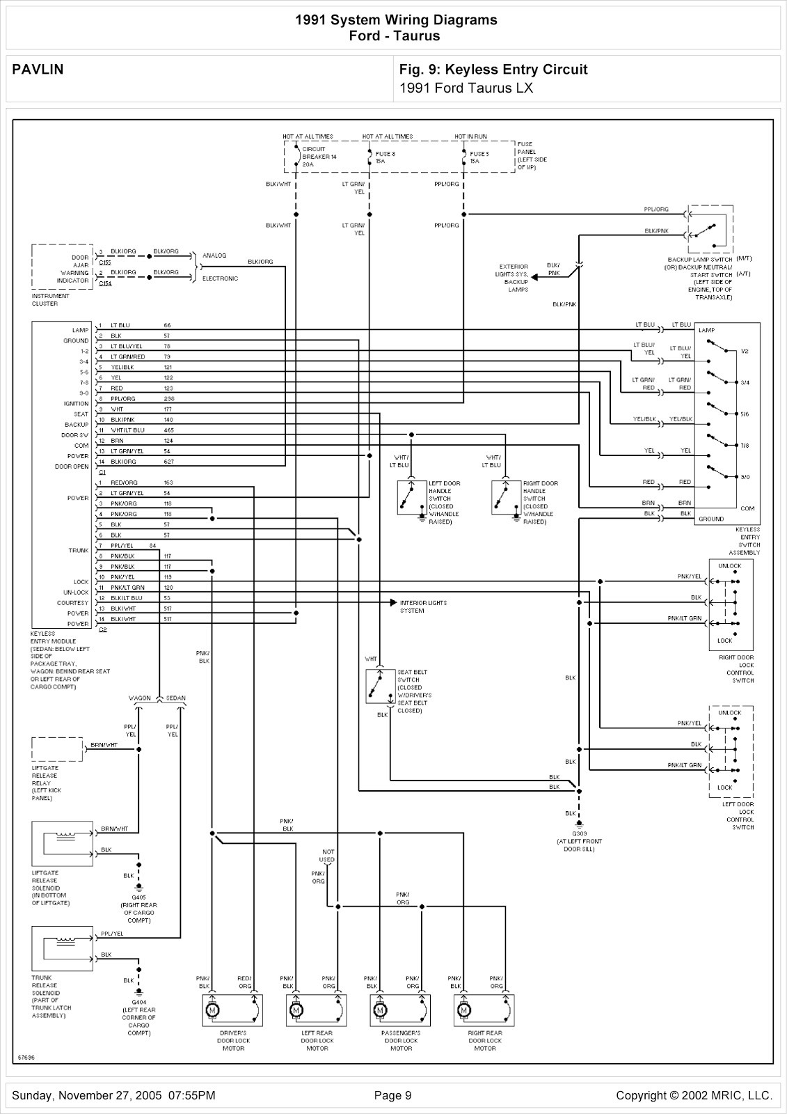 1991    Ford       Taurus    LX System Wiring    Diagram    for Keyless