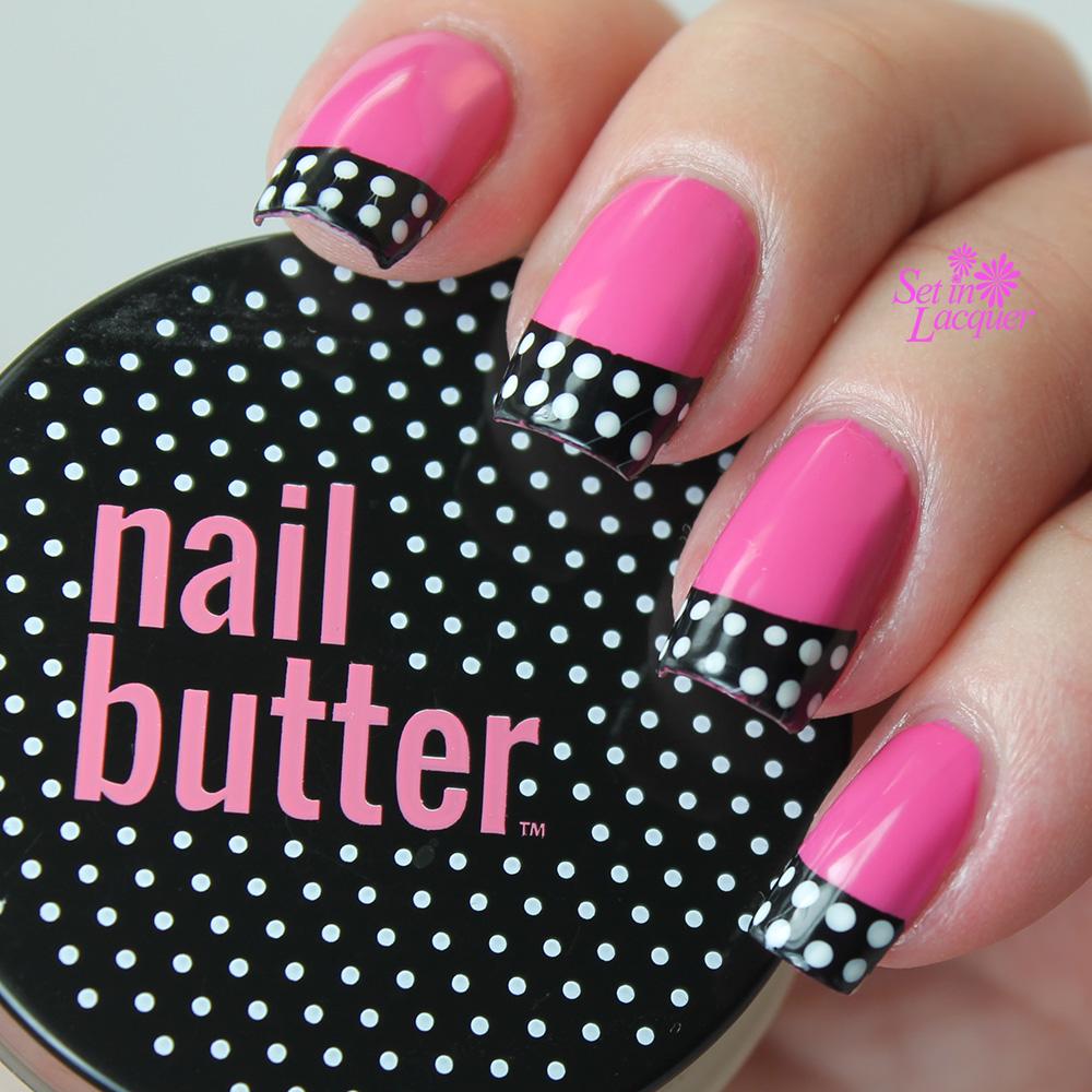 Nail Butter - Pink and black retro polka dot nail art