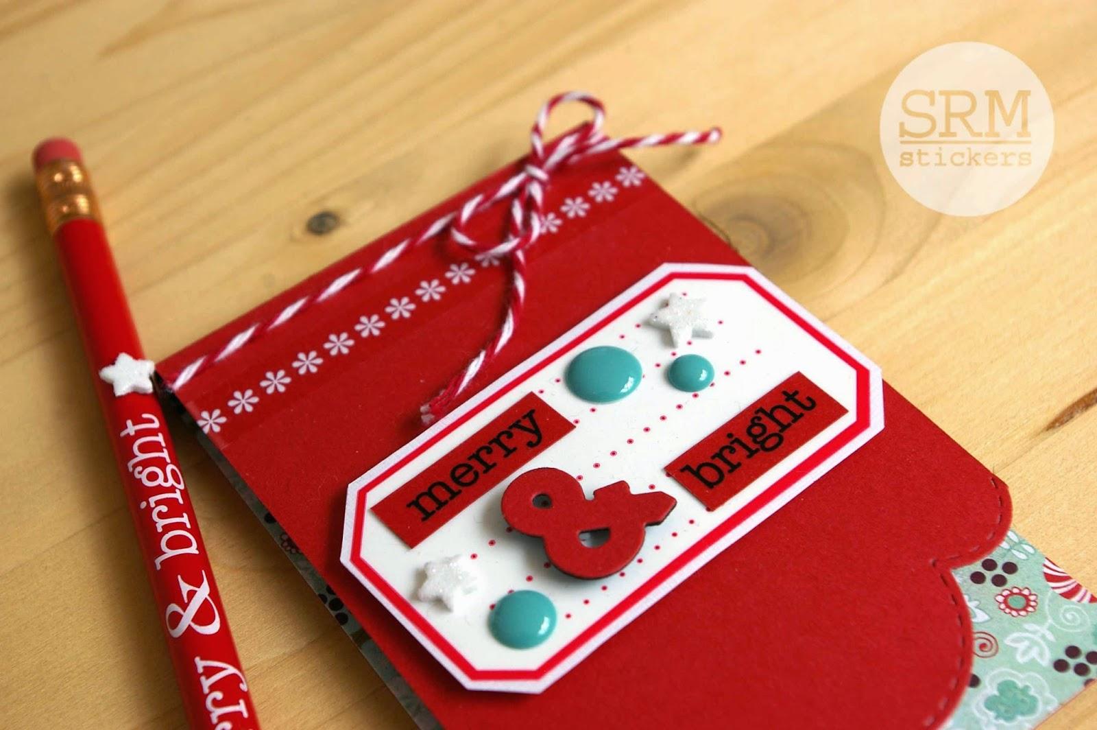 SRM Stickers Blog - Merry & Bright Stocking Stuffer by Lorena - #christmas #pencils #twine #stickers #stockingstuffer #gift