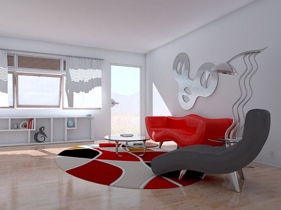 Unique red and grey living room ideas