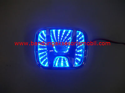 Front Logo + Lampu 3D Honda Biru