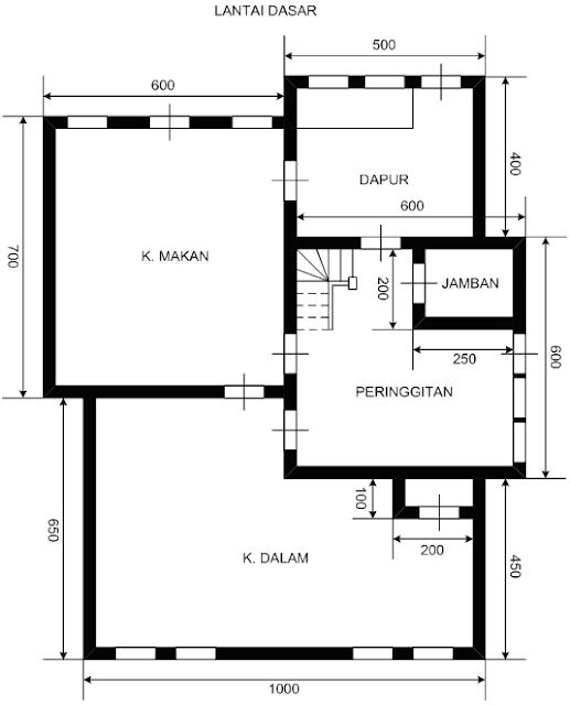 denah rumah dua lantai