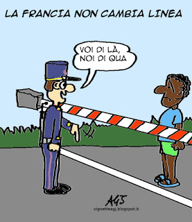 Ventimiglia, francia, migranti satira vignetta
