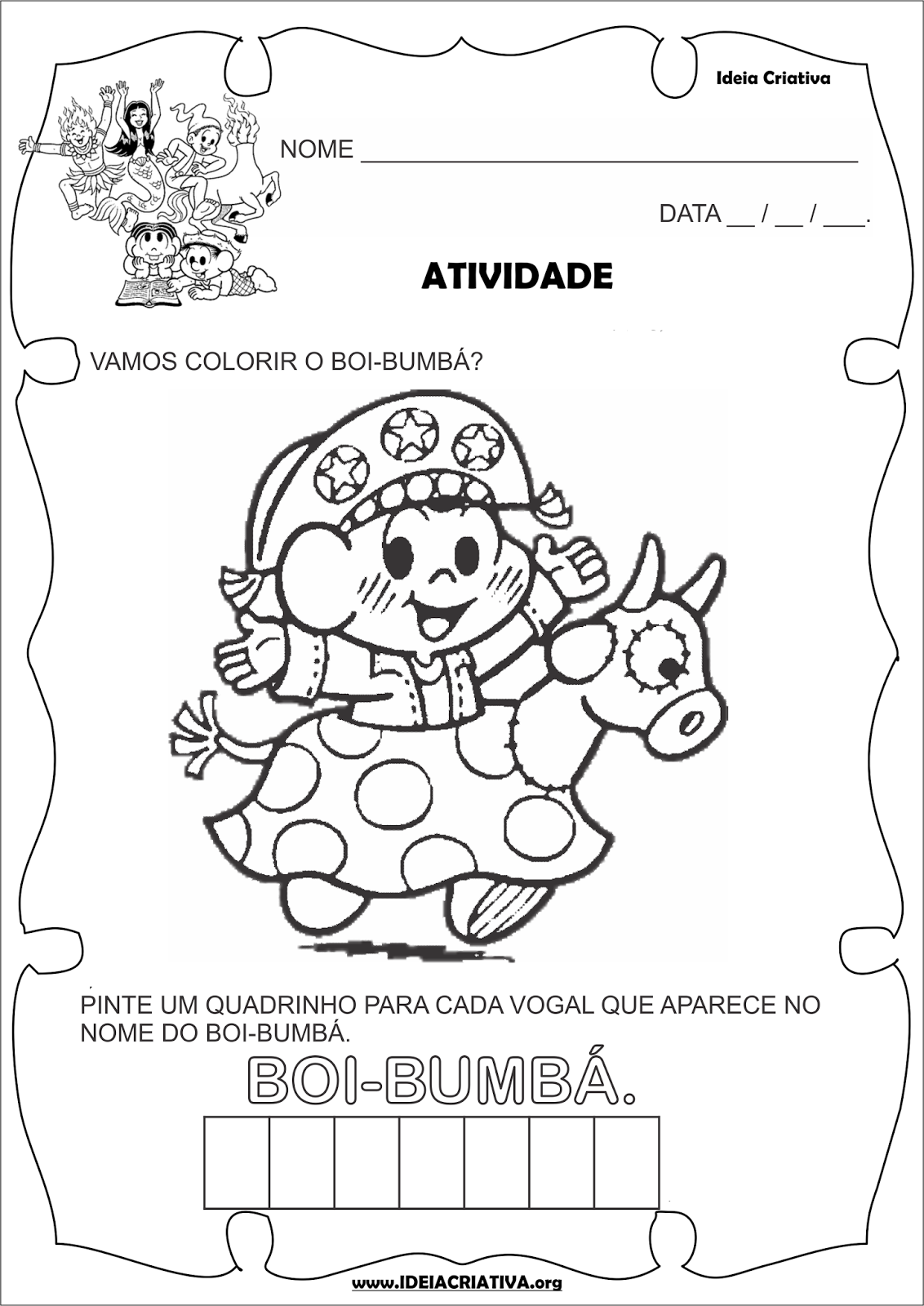 Atividade Folclore Vogais Boi- Bumbá