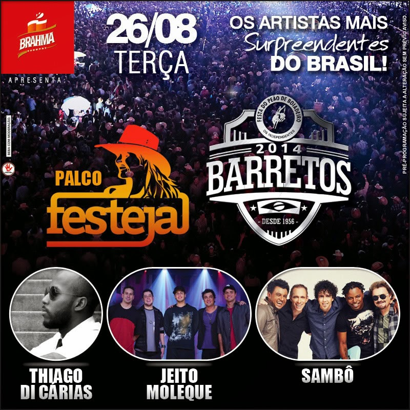 Programa��o da 59� Festa do Pe�o de Barretos 2014 - Dia 26/08/2014