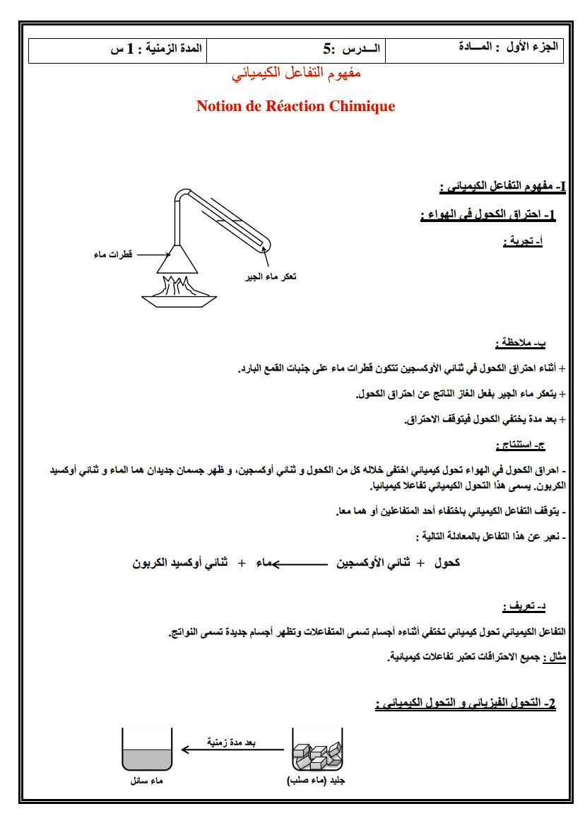 درس مفهوم التفاعل الكيميائي-1