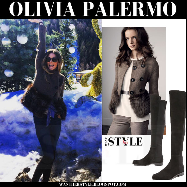 Olivia Palermo in brown knit fur agnona cardigan and suede stuart weitzman 5050 boots what she wore streetstyle