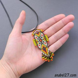 купить индейское украшение ацтекский кулон из бисера этника украина