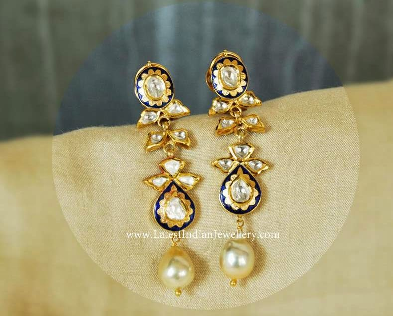 amita Pearl Polki Diamond earrings