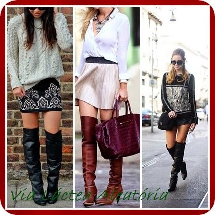 Looks de inverno usando botas cano alto e saias