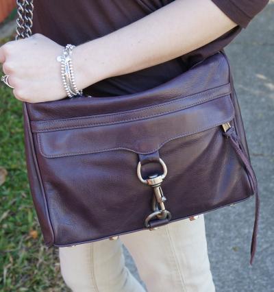 away from the blue blog rebecca minkoff purple MAC bag