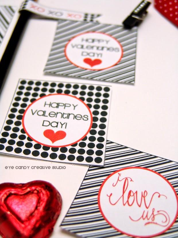 happy valentines day, black and white polka dots, mini clips, hand lettered, i love us