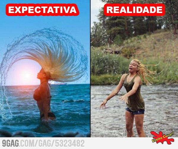 expectativa, realidade, cabelo, agua, eeeita coisa