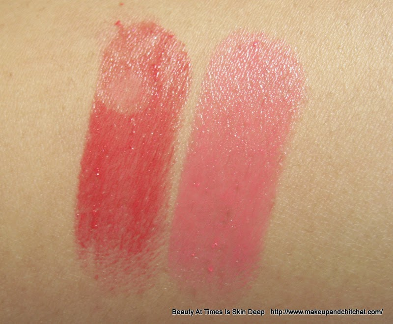 Swatches of Lakme Absolute Gloss Addict Lipsticks in Desert Rose and Red Delight