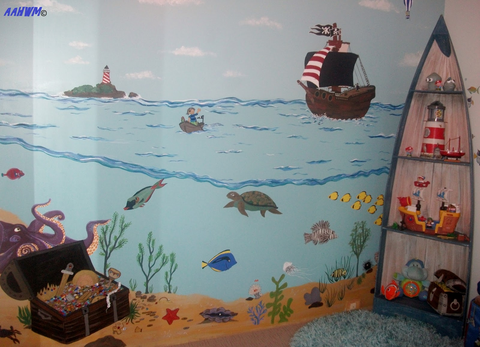 Adventures at home with mum the pirate room for Classroom mural ideas