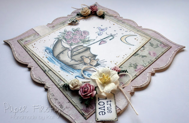 Romantic floral card featuring cute mice in an umbrella