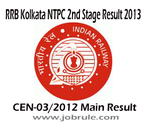 RRB Kolkata Assistant Station Master (ASM) and Traffic Assistant (TA) NTPC Second Stage Results (CEN-03/2012) and Venue of Aptitude Test 2013