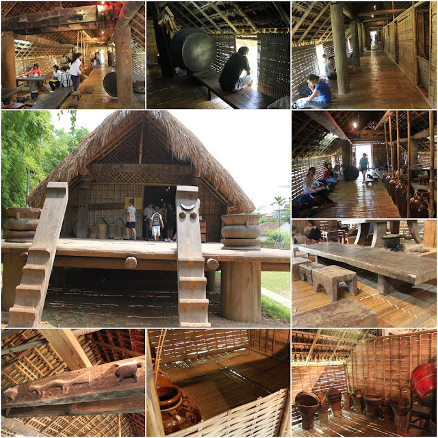 Ede longhouse with the lenght of 42 meters to accomodate the families of daughters and granddaughters of an extended matrilineal family at Museum of Ethnology in Hanoi, Vietnam