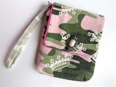 Wristlet made out of kid's camo pants