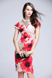 New 2016 Lotus Sleeve Big Red Floral Sleeveless OL Dress