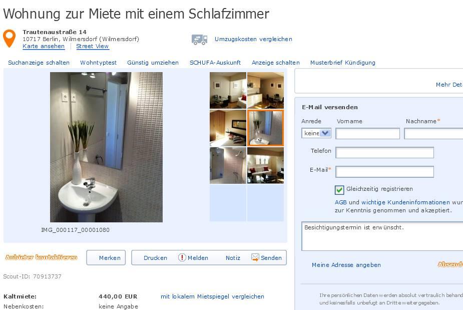 wohnung zur miete mit einem schlafzimmer trautenaustra e 14 10717 berlin. Black Bedroom Furniture Sets. Home Design Ideas
