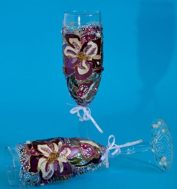 Келихи для шампанського, декор Олесі Гудими, Україна