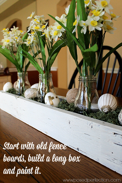 Use old fence boards to make a long box for your centerpiece.