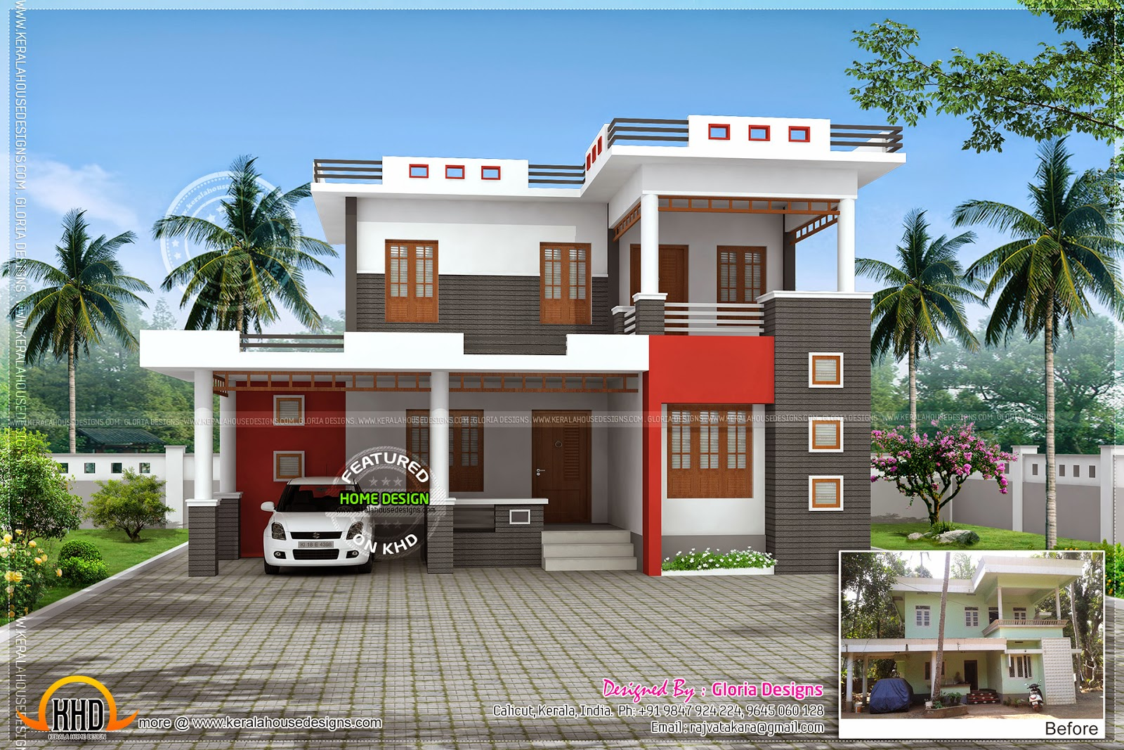 Renovation 3d model for an old house kerala home design for Model house photos in indian