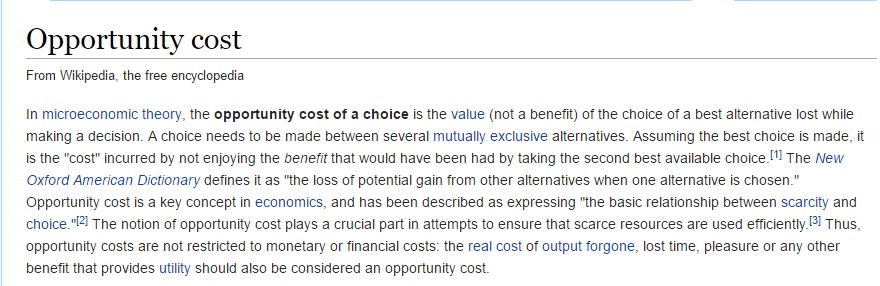 What is the Opportunity Cost ?