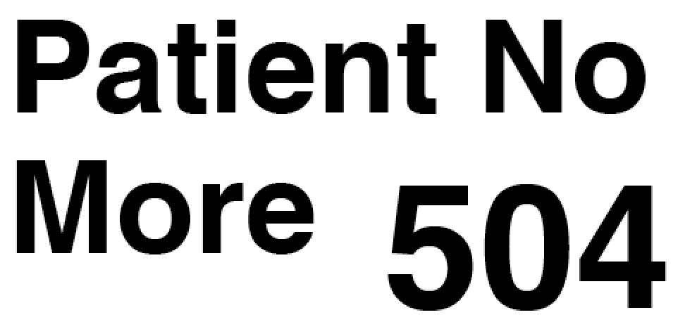 504 Patient No More logo. Patient No More is aligned to the left and the numbers 504 are large and on the bottom left of the image.