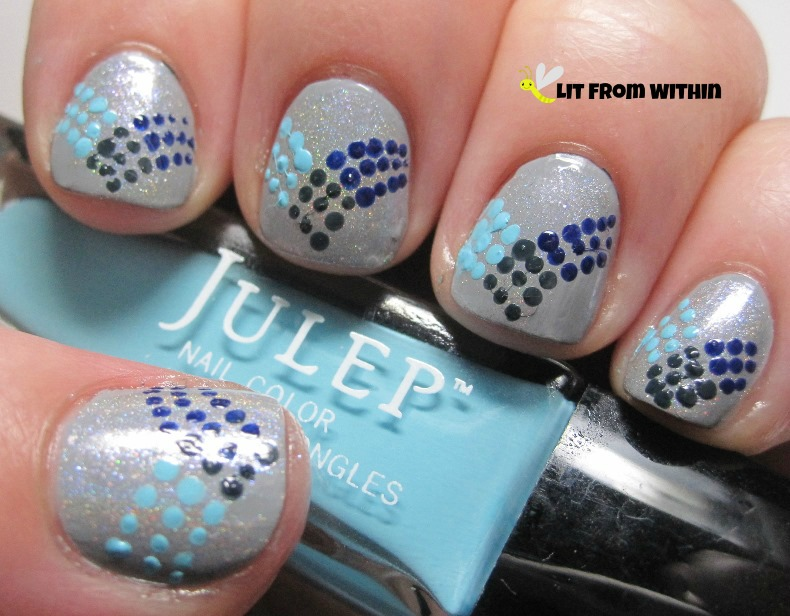 Julep Something Blue to make the dots that swept to the other side
