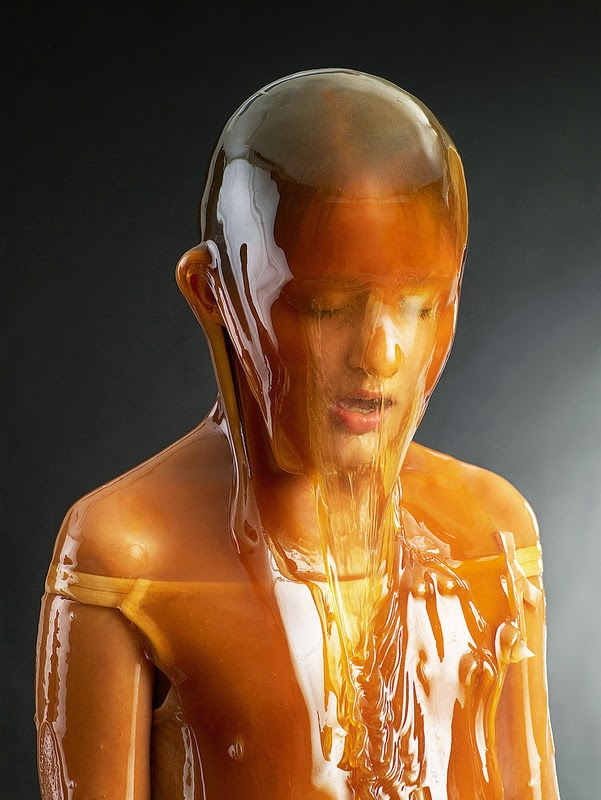 people covered in honey