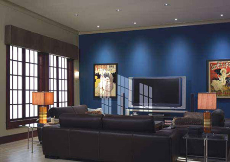 Lutron Grafik QS full lighting and shades control system in the living room