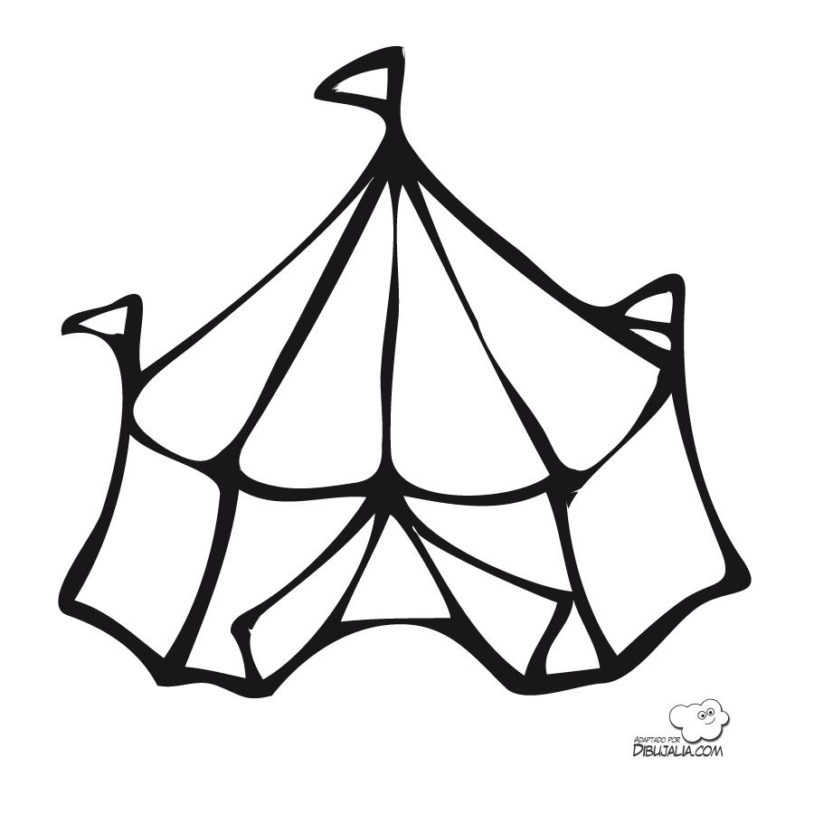 Carpa de circo para pintar y colorear | Dibujos para Colorear Gratis
