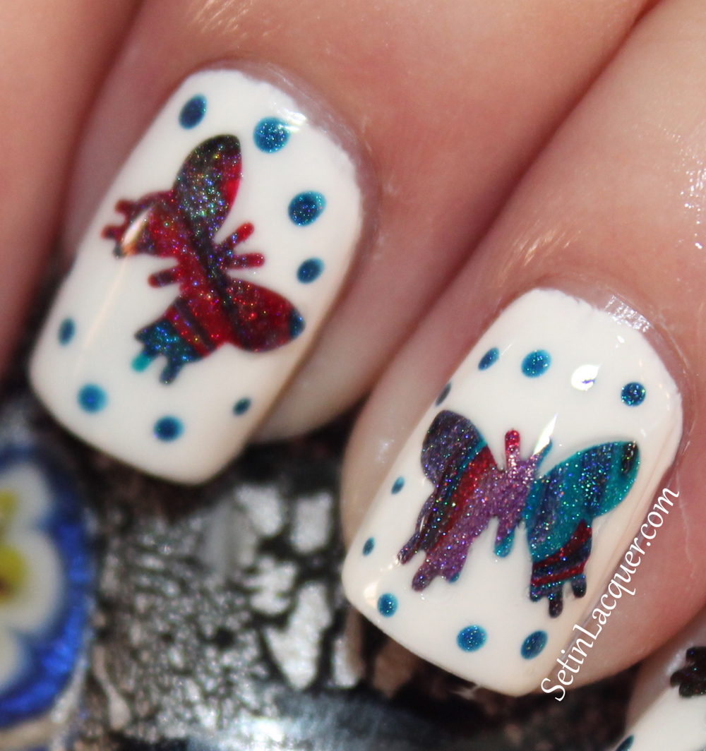 Holographic butterfly nail art