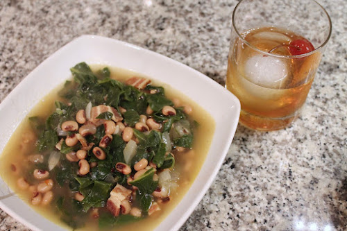 Black Eyed Peas with Bacon and Chard