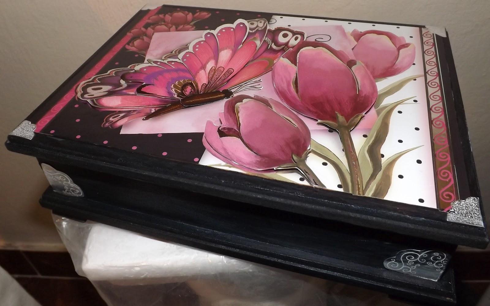 Taller de pintura decorativa caja con decoupage 3d for Pintura decorativa efeito 3d