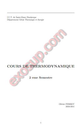 COURS DE THERMODYNAMIQUE