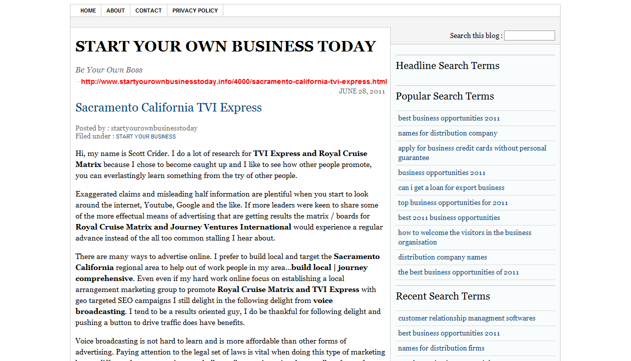 Kaseys korner august 2011 garbage like this tvi express article by scott crider who is not starting a business all he wants is to help you attract more people to tvi express reheart Image collections