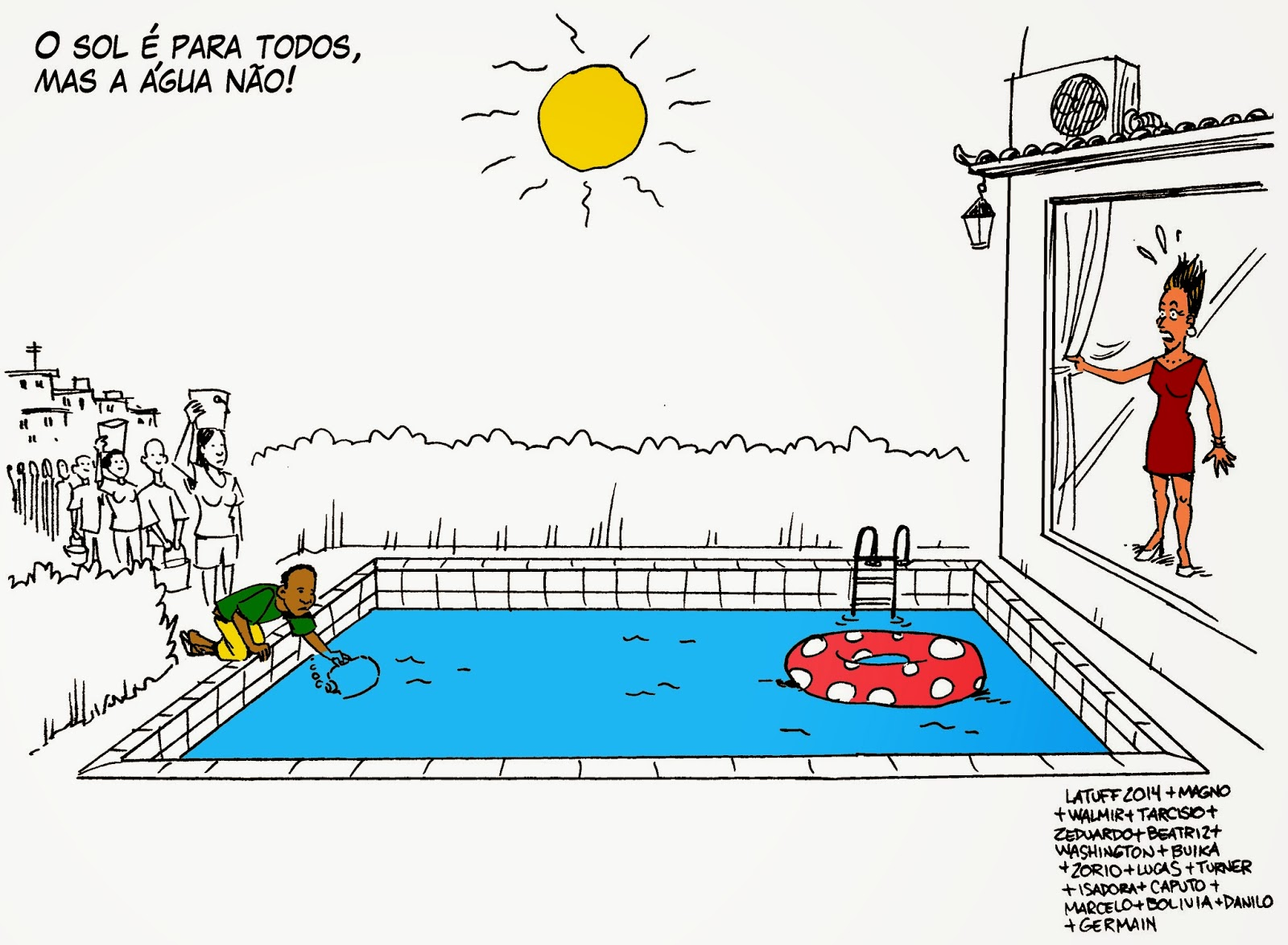 Latuff: The sun is for everone, but the water, no!