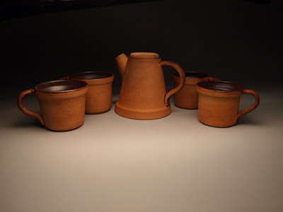 Clay flowerpot teapot and mugs by Lori Buff