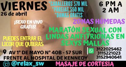 VIERNES 26 DE ABRIL DE 6 PM A 2 AM GANG BANG CON HERMOSAS CHICAS SW